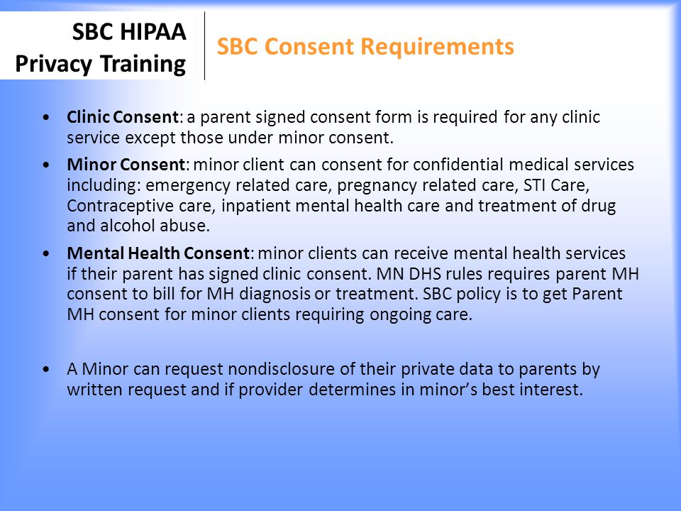 SBC Consent Requirements