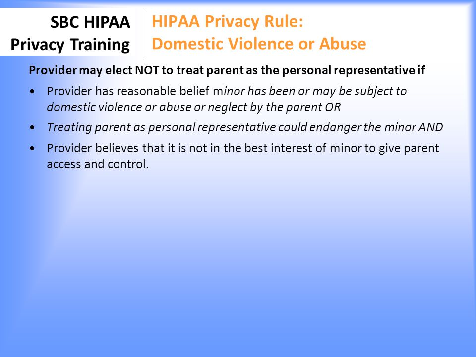 HIPAA Privacy Rule: Domestic Violence or Abuse