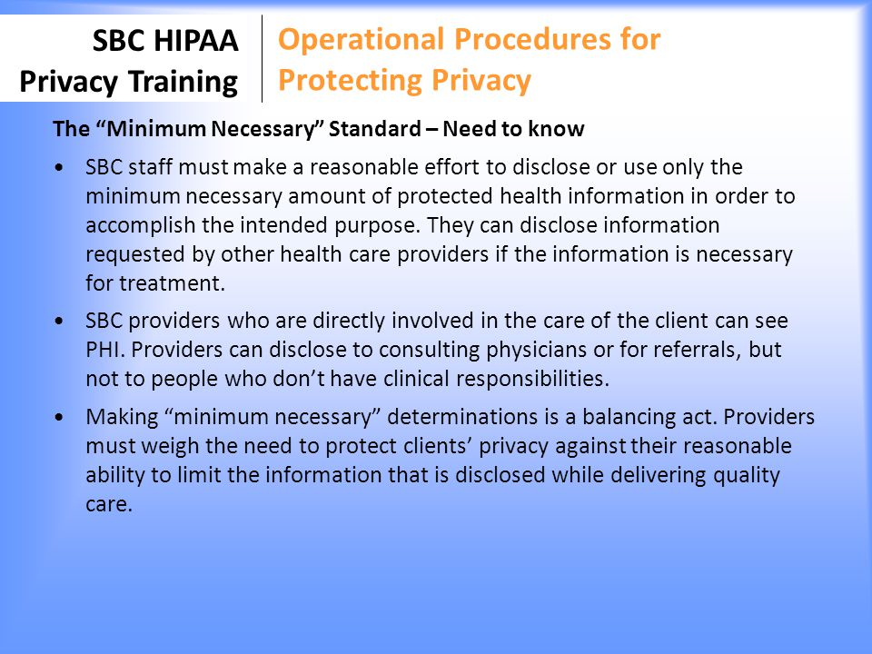 Operational Procedures for Protecting Privacy