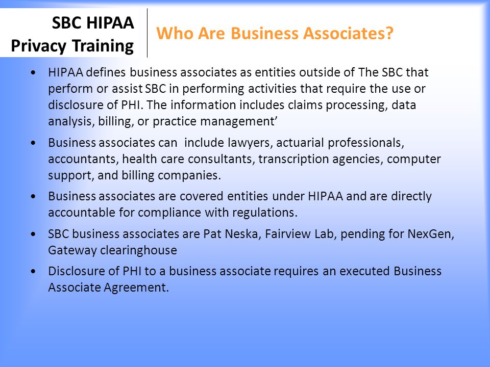 Who Are Business Associates