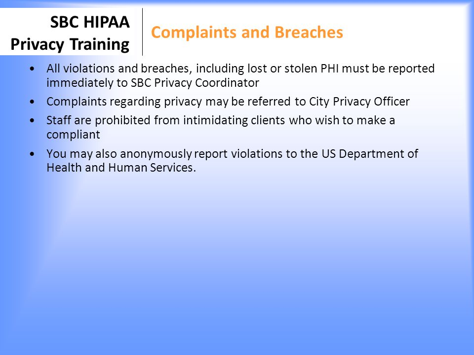 Complaints and Breaches