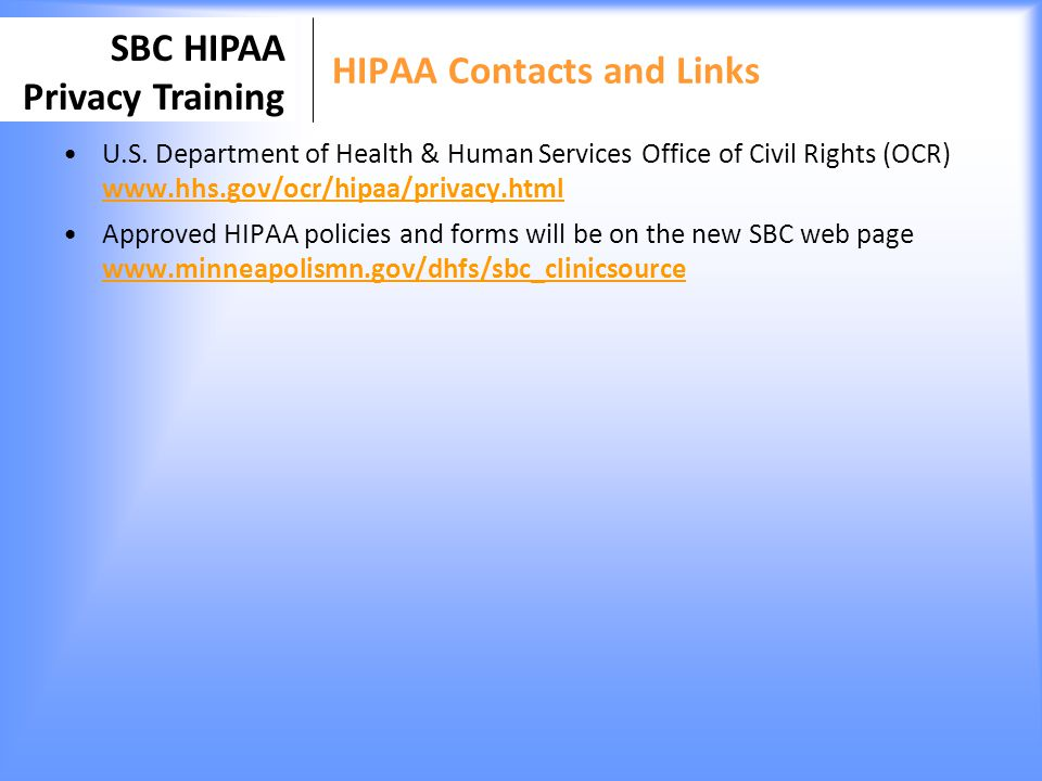 HIPAA Contacts and Links