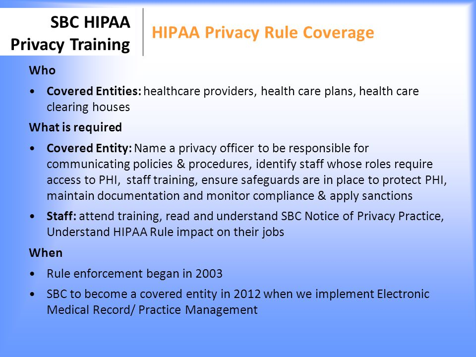 HIPAA Privacy Rule Coverage