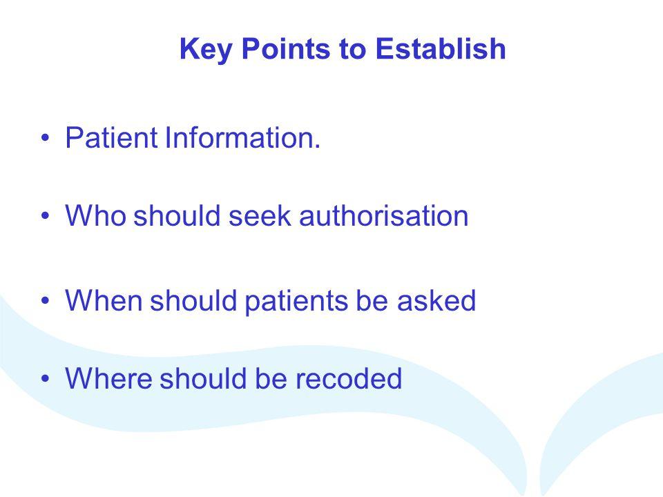 Key Points to Establish