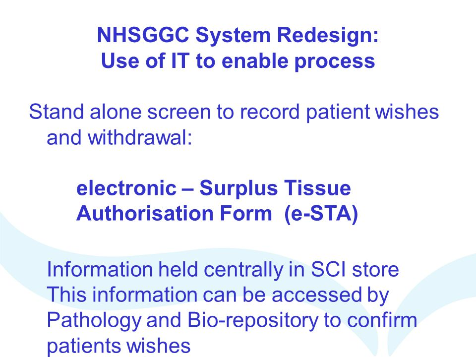 NHSGGC System Redesign: Use of IT to enable process