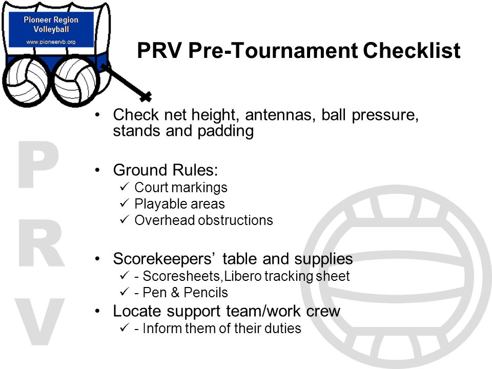 PRV Pre-Tournament Checklist