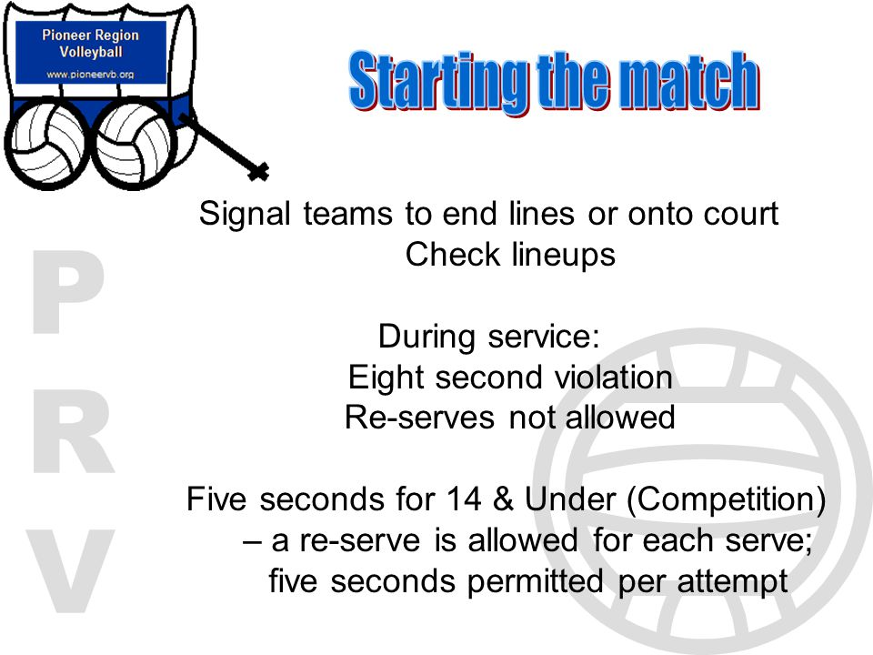 Starting the match Signal teams to end lines or onto court