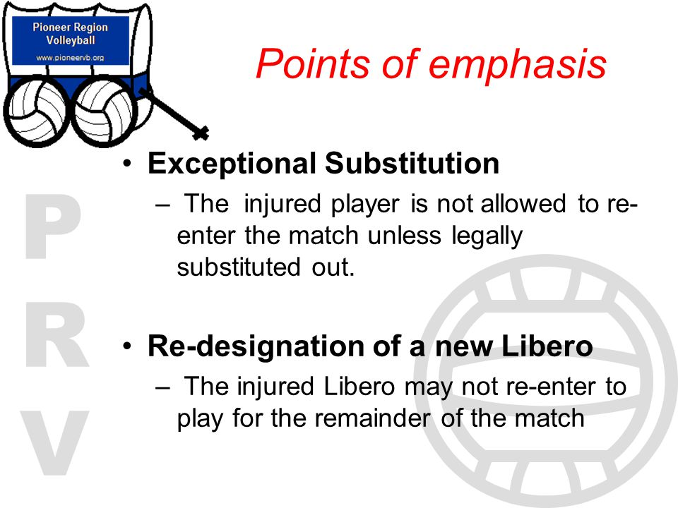 Points of emphasis Exceptional Substitution