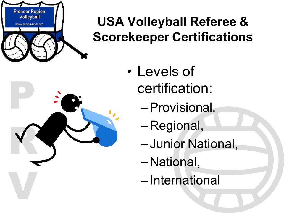 USA Volleyball Referee & Scorekeeper Certifications