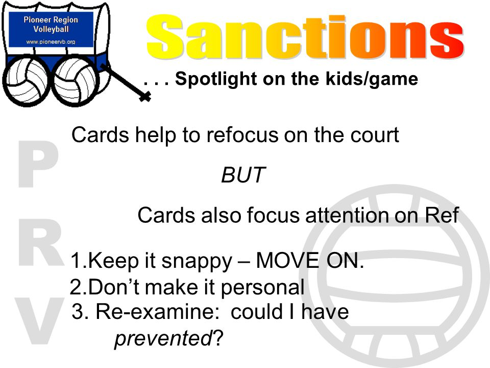 Sanctions Cards help to refocus on the court BUT