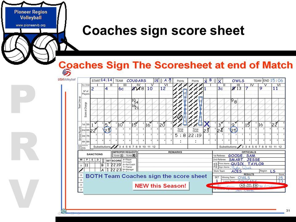 Coaches sign score sheet