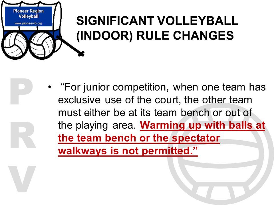 SIGNIFICANT VOLLEYBALL (INDOOR) RULE CHANGES