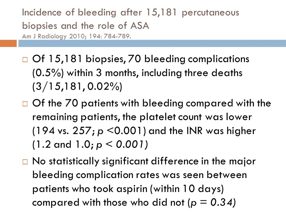 Incidence of bleeding after 15,181 percutaneous biopsies and the role of ASA Am J Radiology 2010; 194: 784-789.