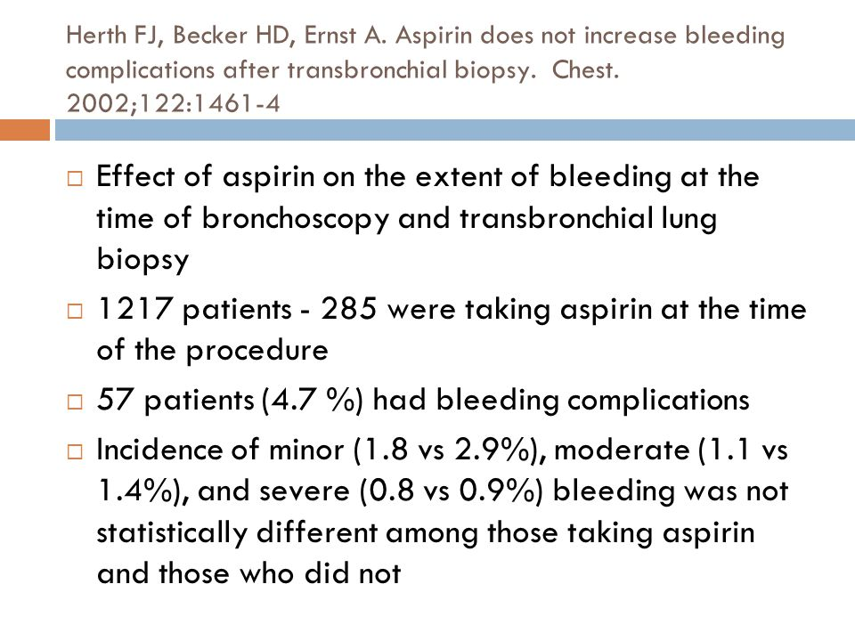 1217 patients - 285 were taking aspirin at the time of the procedure
