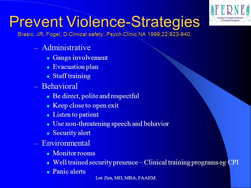 Prevent Violence-Strategies Brasic, JR, Fogel, D:Clinical safety