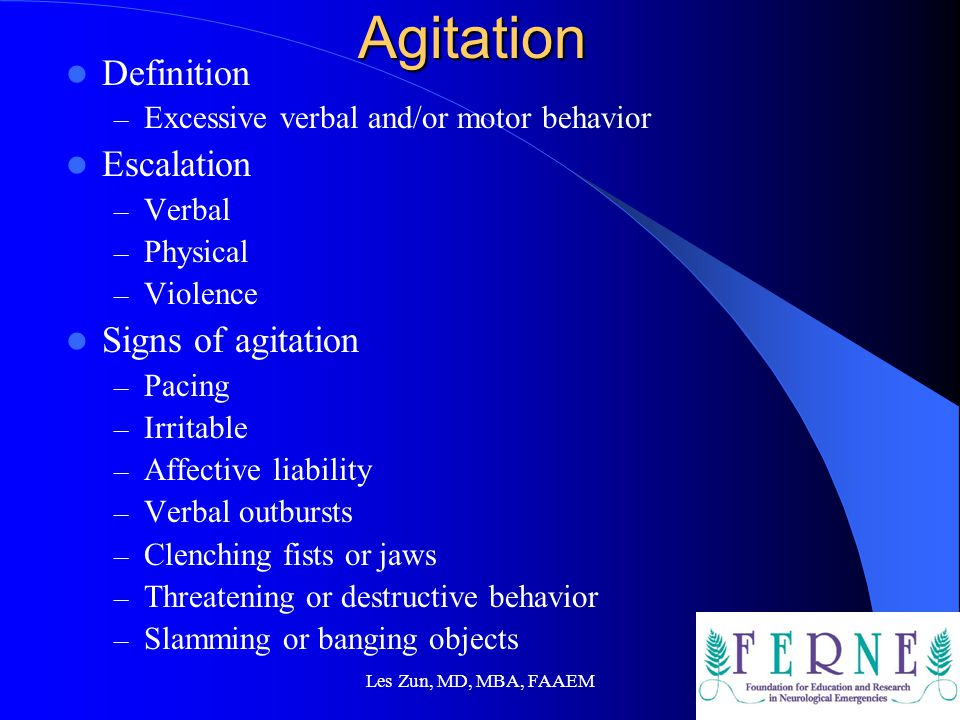 Agitation Definition Escalation Signs of agitation