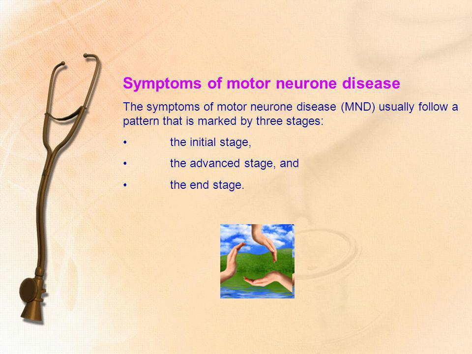 Symptoms of motor neurone disease