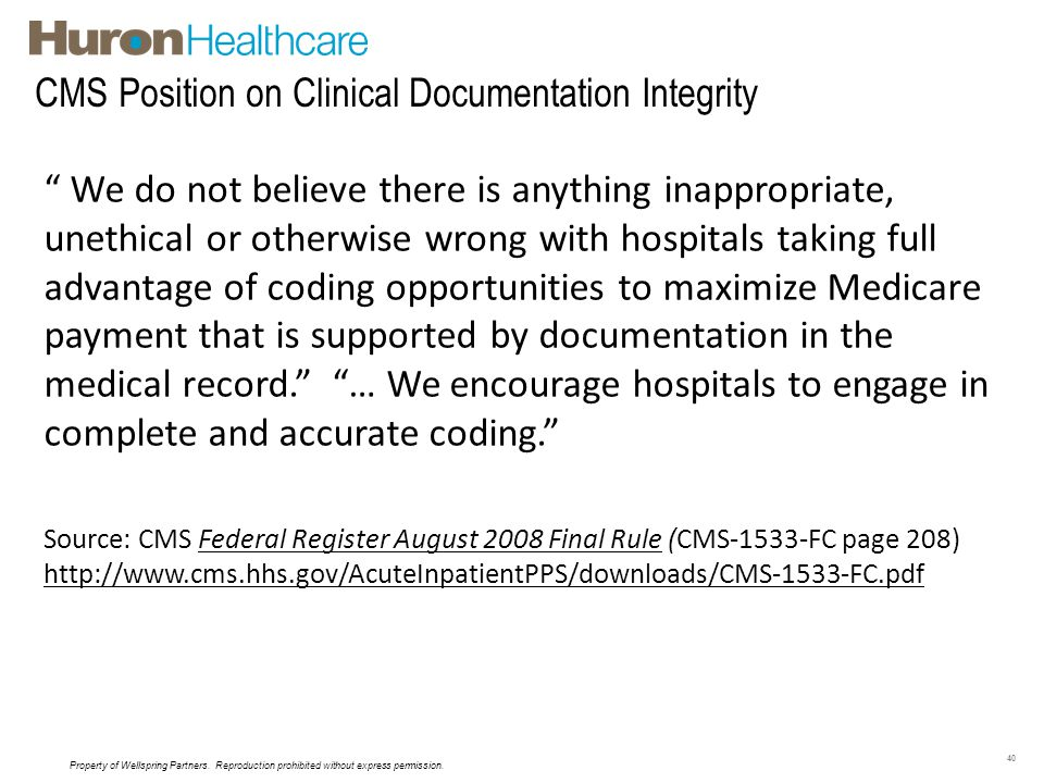 CMS Position on Clinical Documentation Integrity