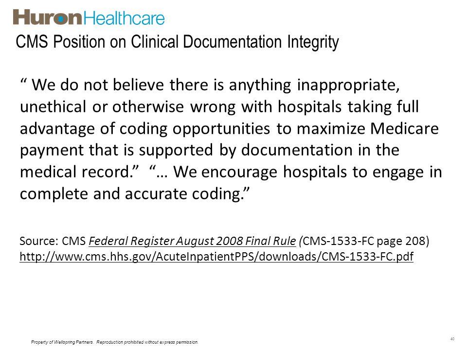 CMS Position on Clinical Documentation Integrity