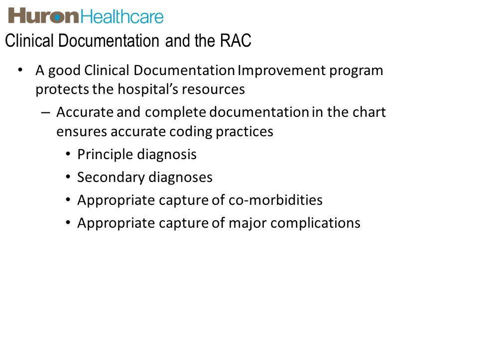 Clinical Documentation and the RAC