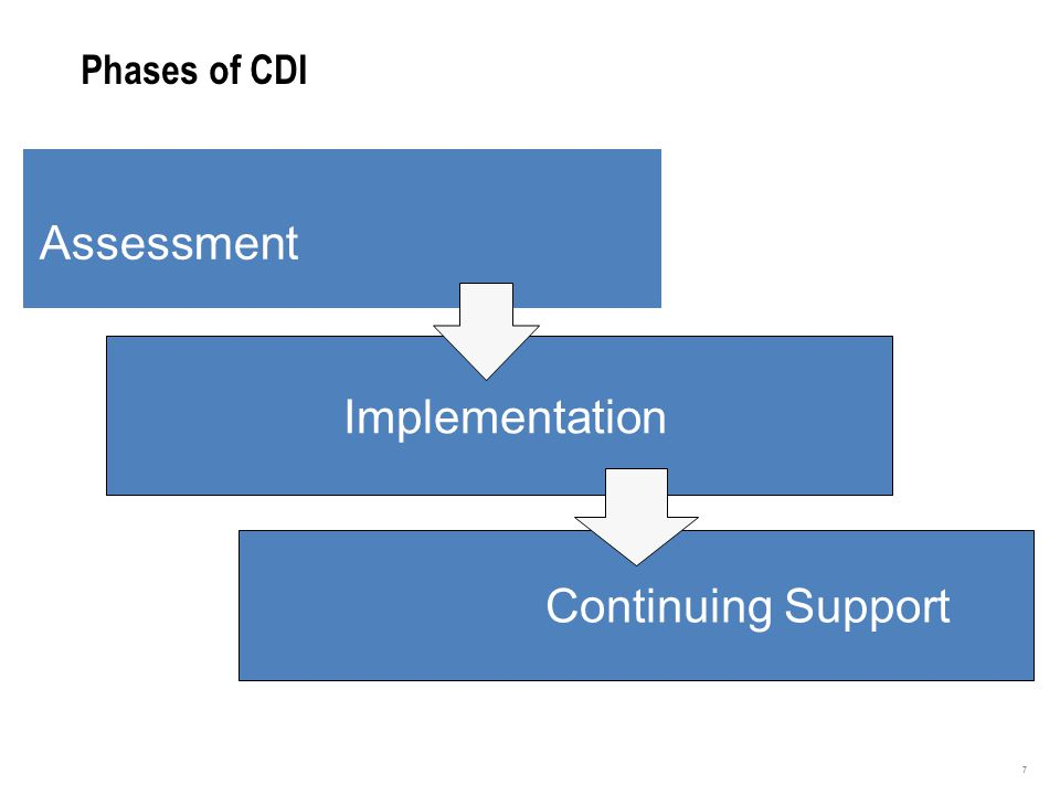 3 Phases of CDI Assessment Implementation Continuing Support