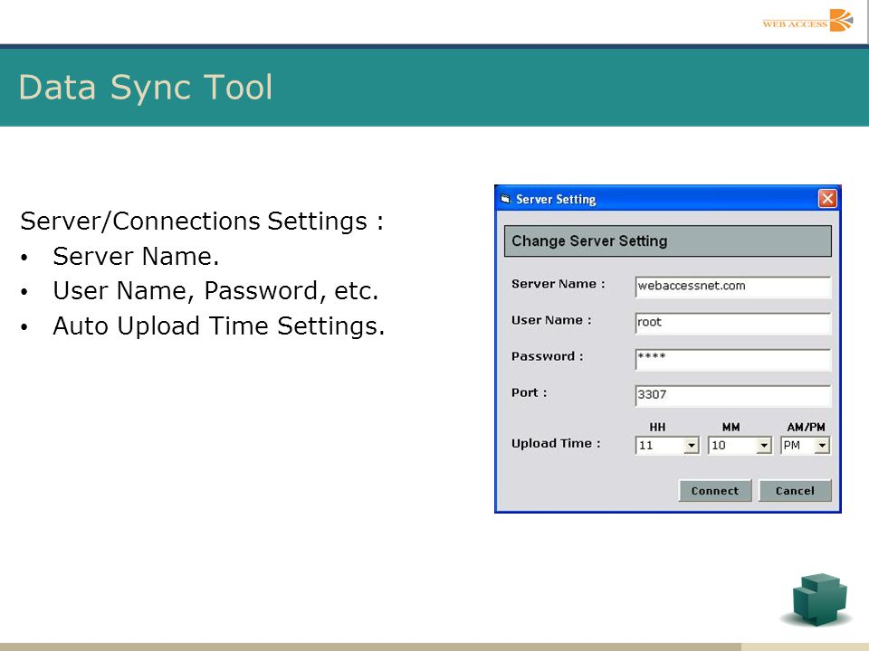 Data Sync Tool Server/Connections Settings : Server Name.