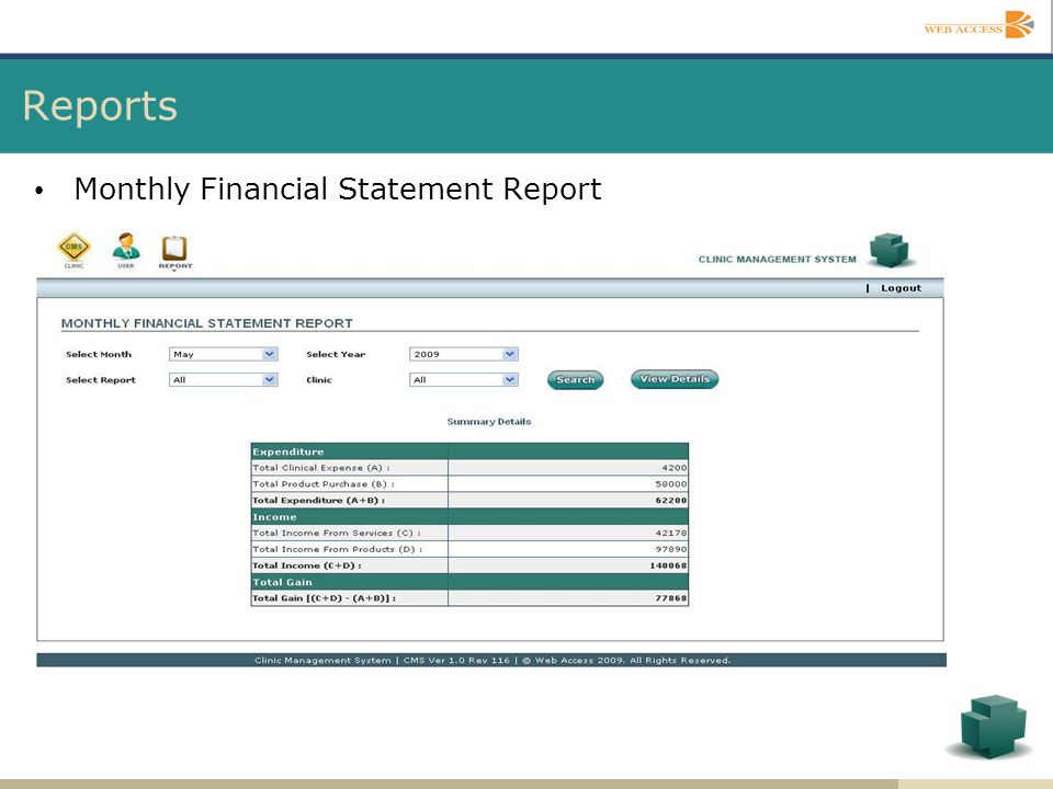 Reports Monthly Financial Statement Report