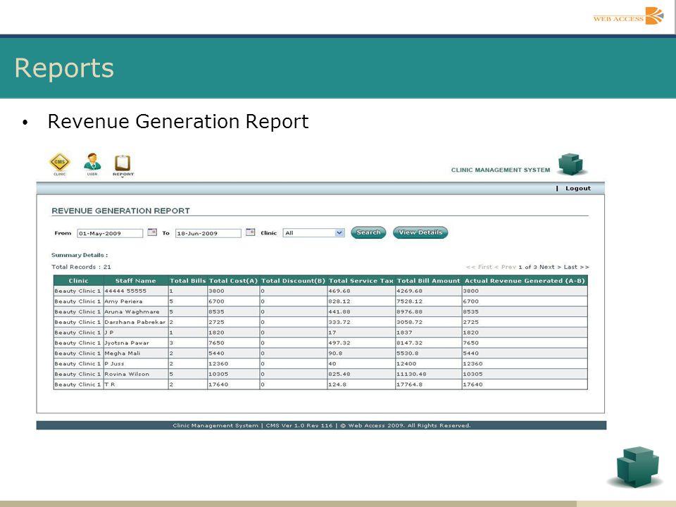 Reports Revenue Generation Report