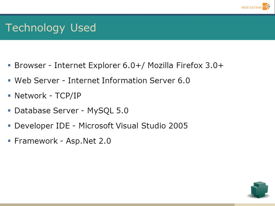 Technology Used Browser - Internet Explorer 6.0+/ Mozilla Firefox 3.0+