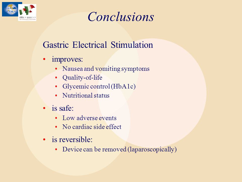 Conclusions Gastric Electrical Stimulation improves: is safe: