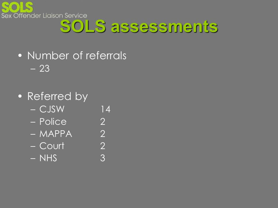 SOLS assessments Number of referrals Referred by 23 CJSW 14 Police 2