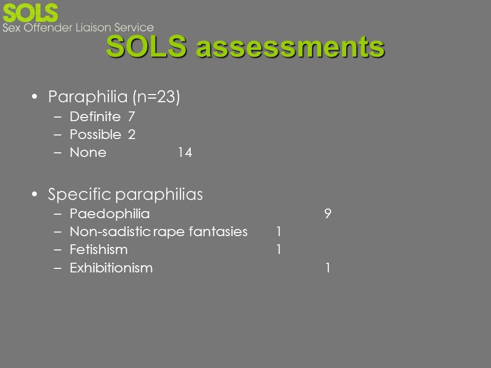 SOLS assessments Paraphilia (n=23) Specific paraphilias Definite 7