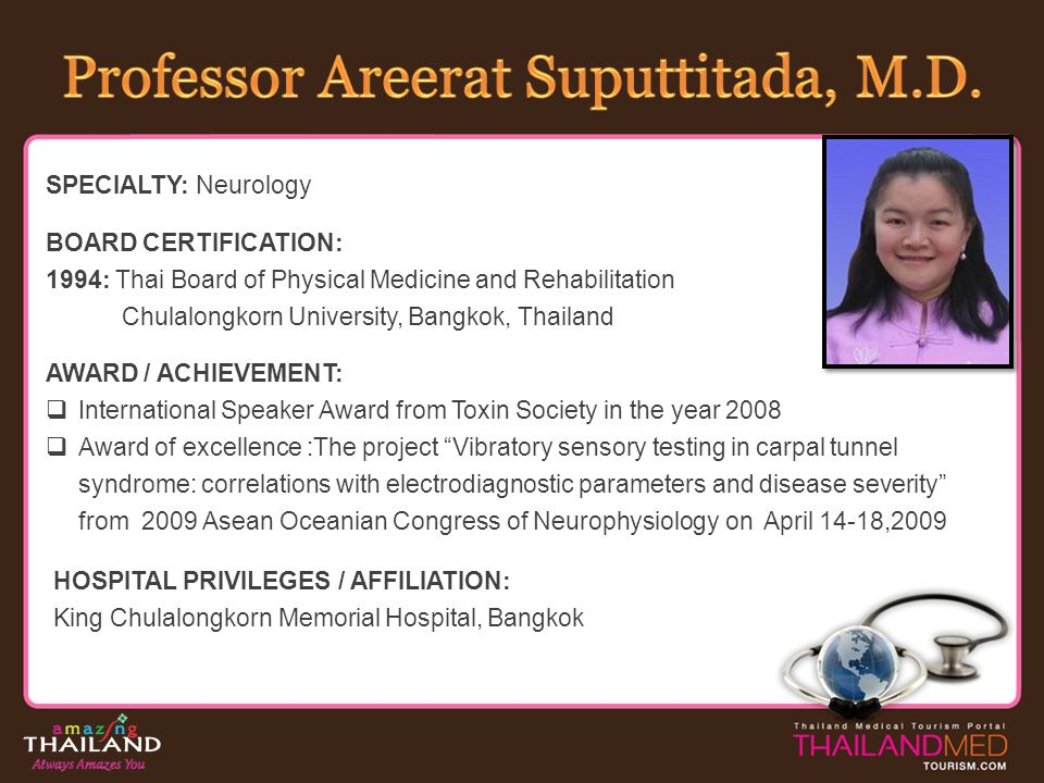 Professor Areerat Suputtitada, M.D.