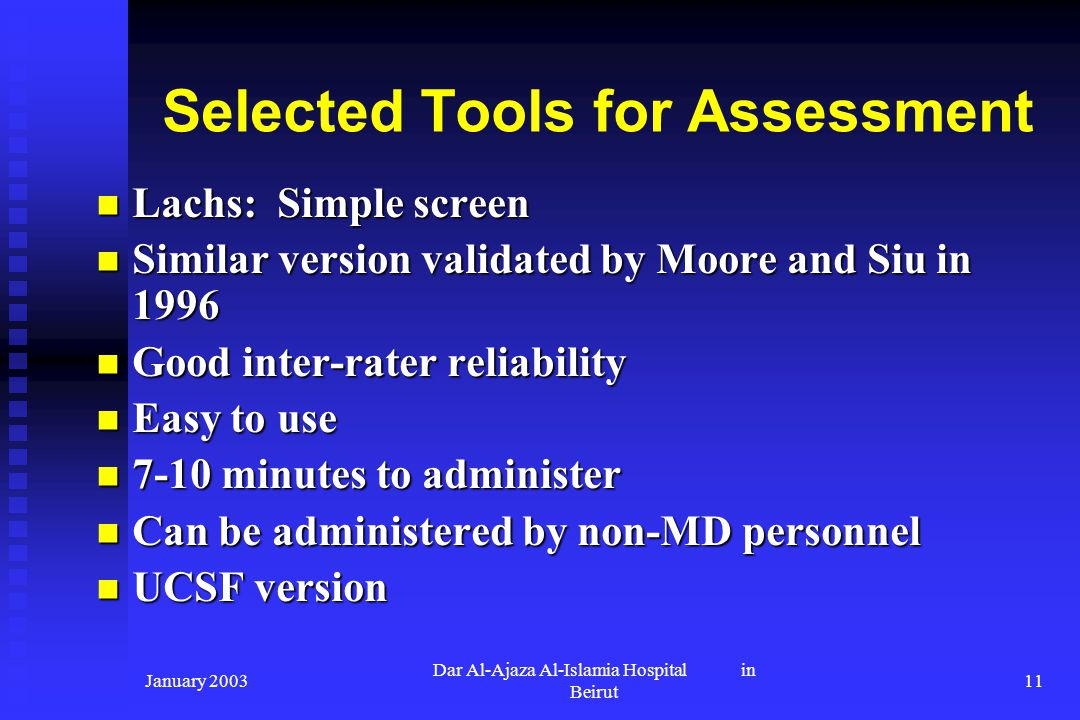 Selected Tools for Assessment