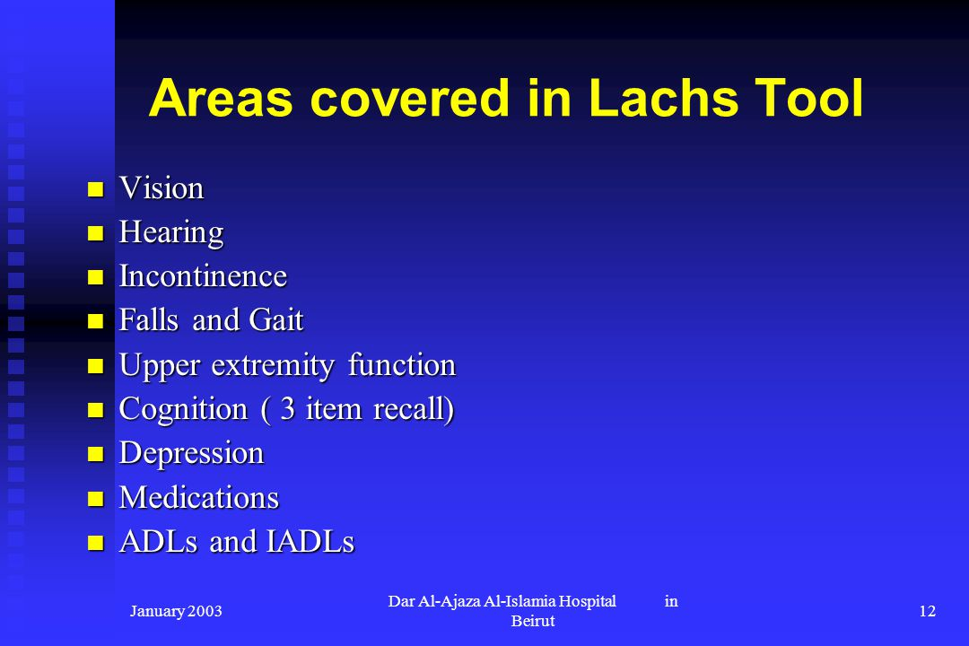 Areas covered in Lachs Tool