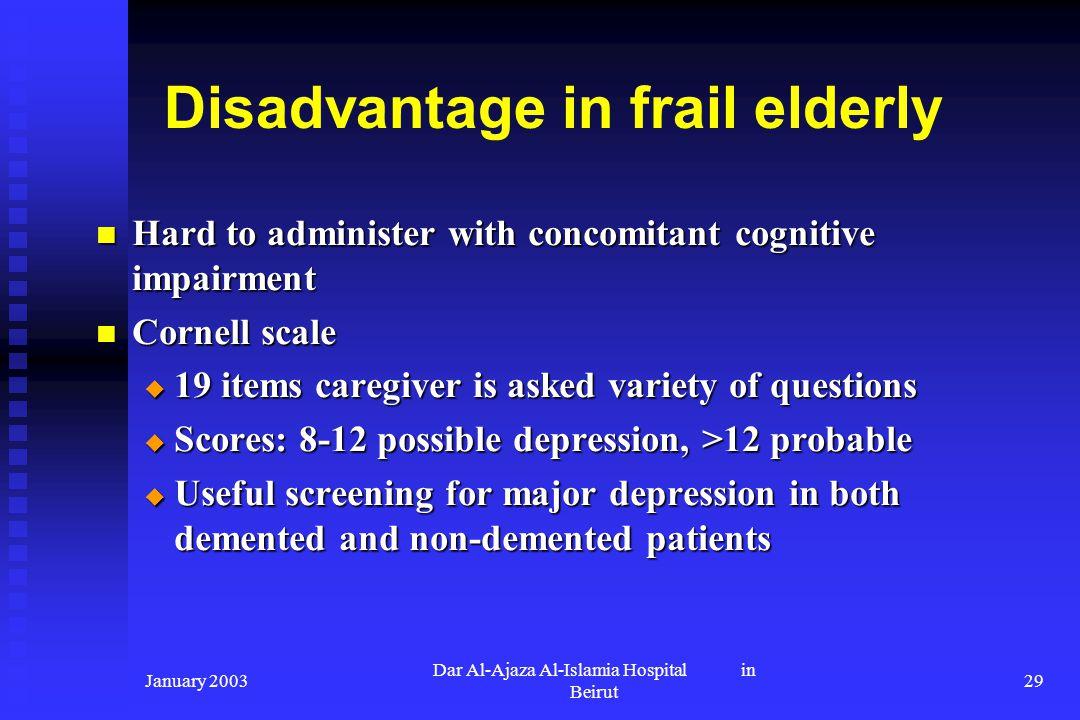 Disadvantage in frail elderly