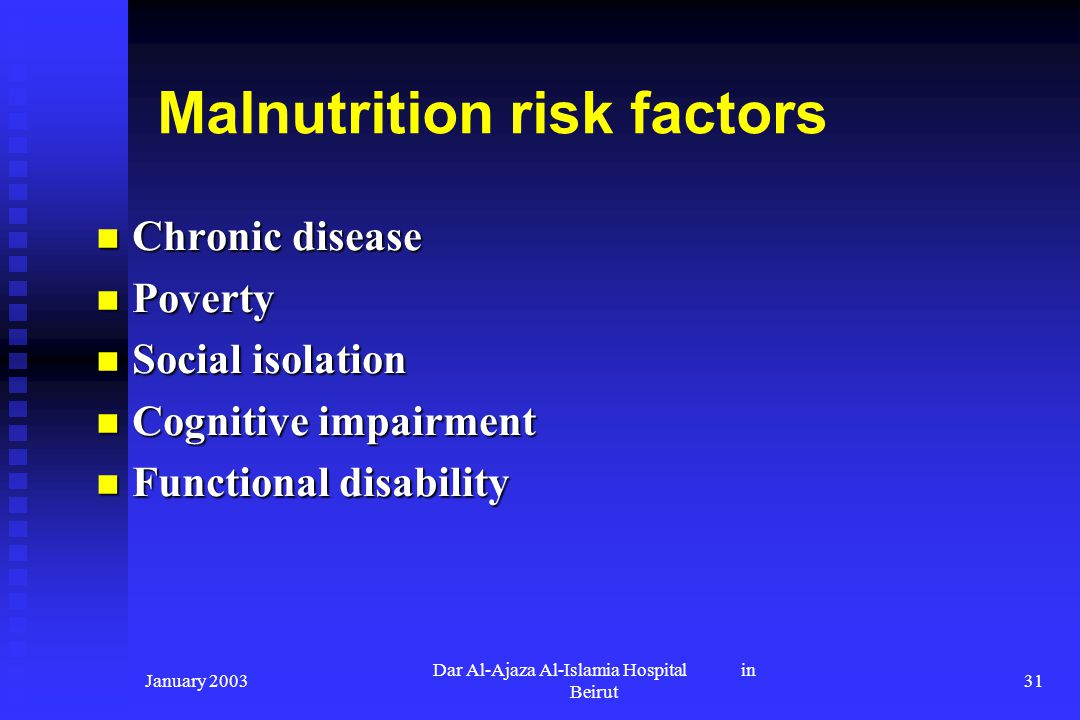 Malnutrition risk factors