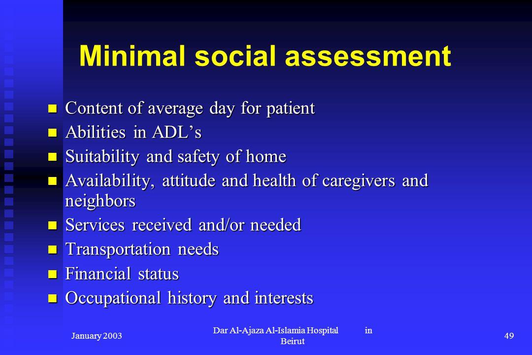 Minimal social assessment