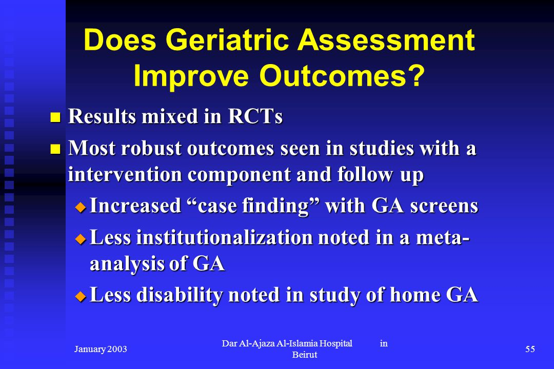 Does Geriatric Assessment Improve Outcomes