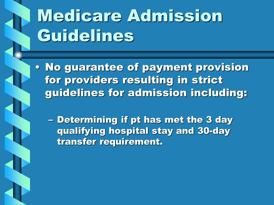 Medicare Admission Guidelines