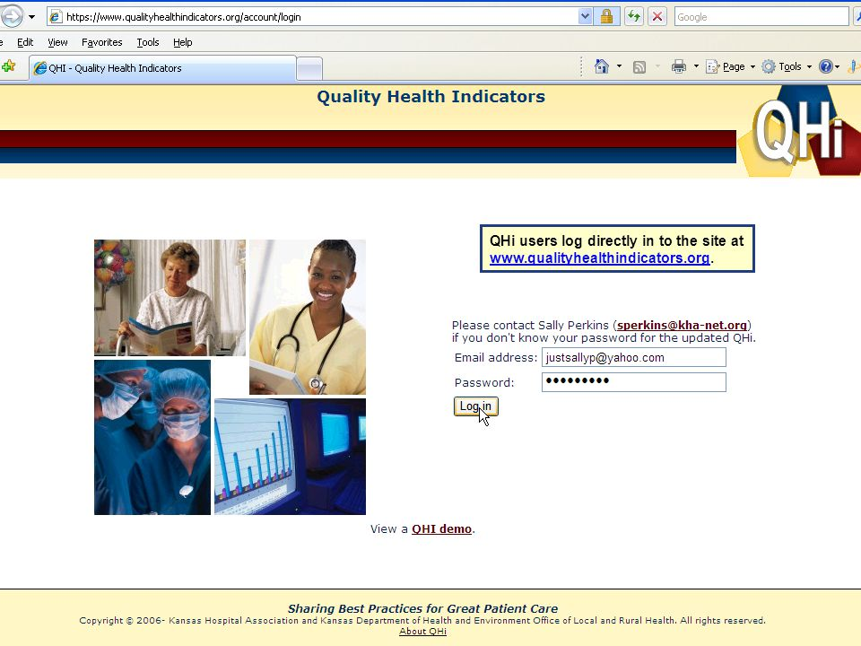 QHi users log directly in to the site at www. qualityhealthindicators