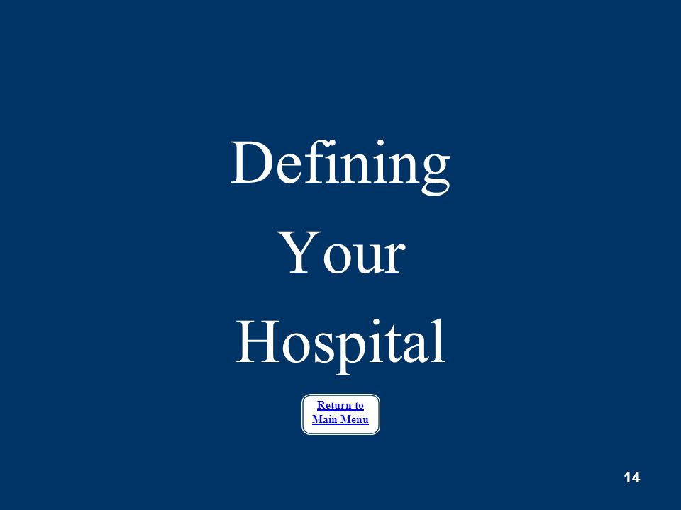 Defining Your Hospital Return to Main Menu