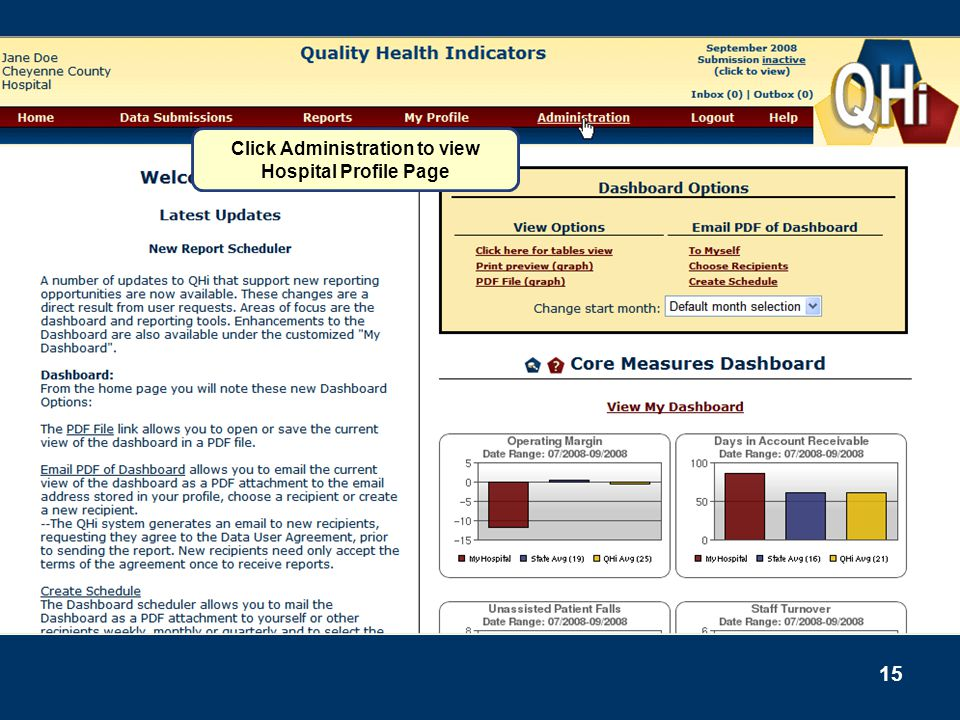 Click Administration to view Hospital Profile Page
