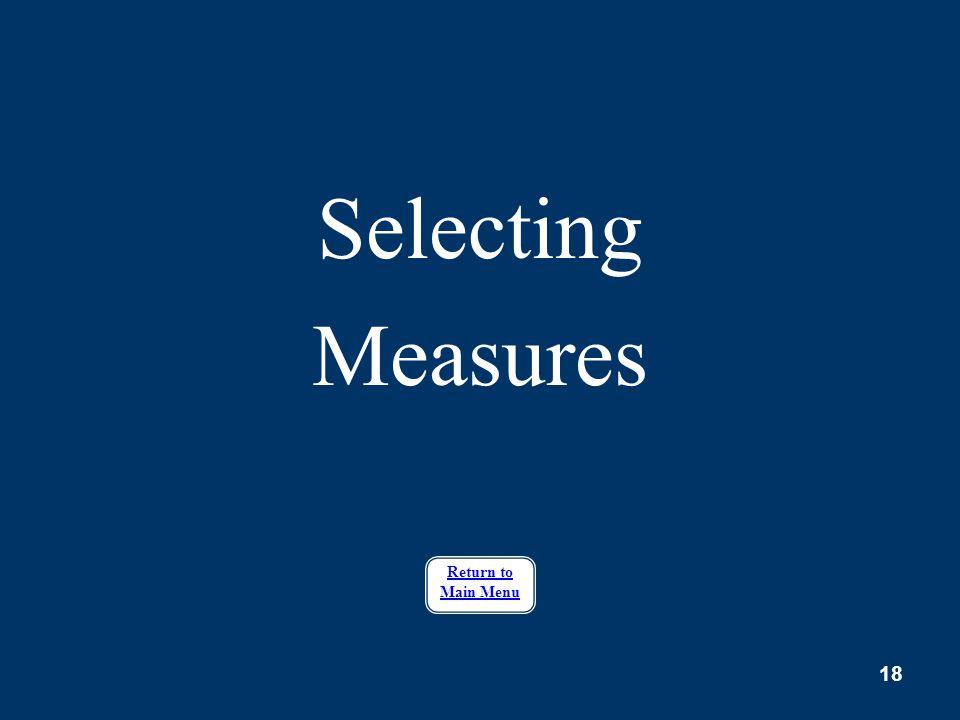 Selecting Measures Return to Main Menu