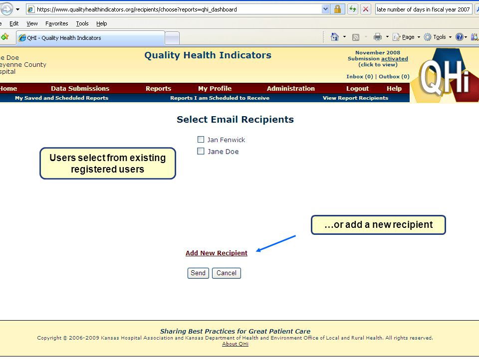 Users select from existing registered users