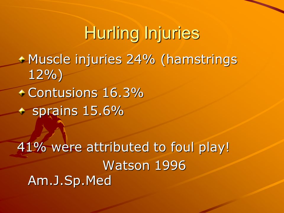 Hurling Injuries Muscle injuries 24% (hamstrings 12%) Contusions 16.3%