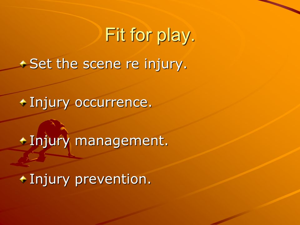 Fit for play. Set the scene re injury. Injury occurrence.