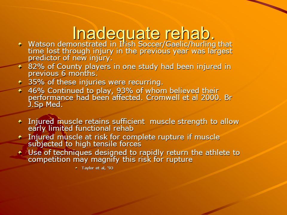 Inadequate rehab.