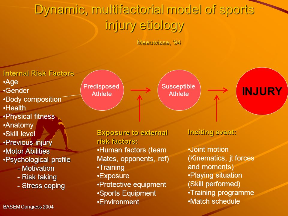 Dynamic, multifactorial model of sports injury etiology Meeuwisse, '94