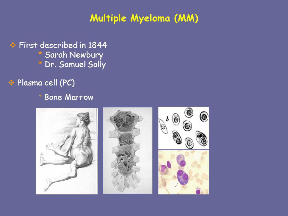 Multiple Myeloma (MM) First described in 1844 * Sarah Newbury